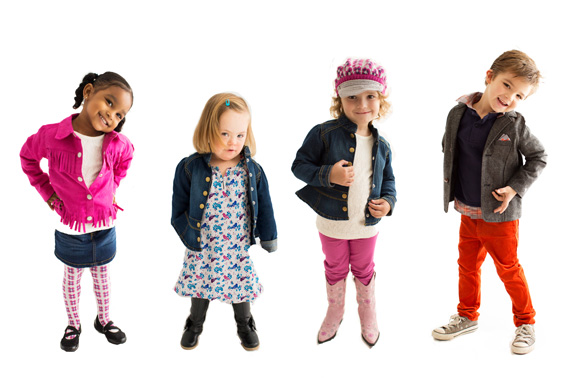 Tori Spelling's children's clothing line, Little Maven, is among the advertisers that Katie Driscoll has convinced to include models with disabilities. Driscoll's 4-year-old daughter, Grace, who has Down syndrome, (second from left) was featured in a recent ad for the clothing line. (Courtesy: Katie Driscoll)