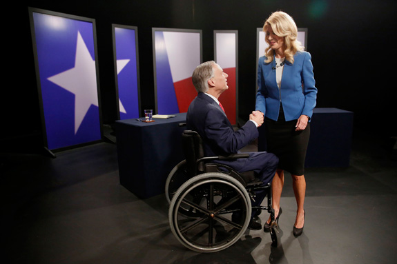 Texas State Sen. Wendy Davis, right, Democratic candidate, and Texas Attorney General Greg Abbott, Republican candidate, shake hands before a gubernatorial debate last month. (Andy Jacobsohn/Dallas Morning News/MCT)
