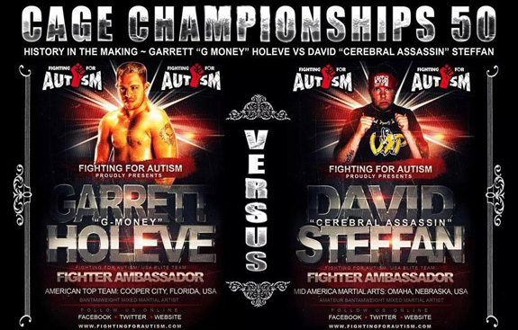 Garrett Holeve, who has Down syndrome, is scheduled to face David Steffan, who has cerebral palsy, in a sanctioned mixed martial arts match.